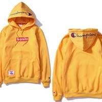 Champion embroidery cotton long sleeve hooded hoodie coat sweater
