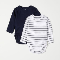 2-pack Long-sleeved Bodysuits - Dark blue/striped - | H&M US