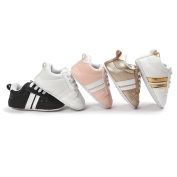 Adidas style infant anti-slip PU Leather first walker shoes