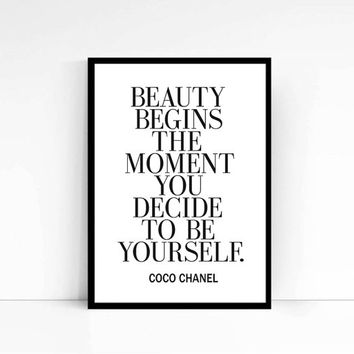 """Printable Art """"Beauty begins"""" Inspirational Print Coco Chanel Quote Typography Quote Home Decor Motivational Poster Wall Art Coco Print"""