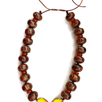 wood beaded necklace-yellow necklace-wood jewelry-yellow jewelry-boho necklace-boho jewelry-charm necklace-art bead-wood necklace-jewelry