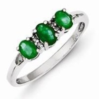 Sterling Silver w/Rhodium 3 Emerald & Diamond Heart Ring