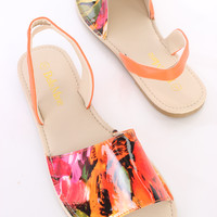 Orange Printed Strappy Peep Toe Sandals Patent