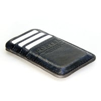 RETROMODERN aged leather iPhone 5 pocket - - BLACK MARINE
