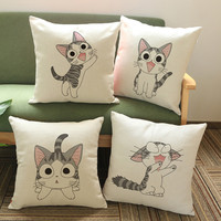 Embroidery Cushion Animal Series Cat Pillow Pillowcase Sofa Throw Pillows Decorative Cushions Christmas Decorations For Home