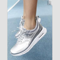 """NIKE"" Women Men Running Sport Casual Shoes Sneakers Silver"