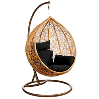 Elegance Natural Rattan Hanging Chair with Black Cushion [PRE2402692] - £595.00 : Basic Elegance Furnishings Ltd