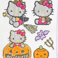 Happy Halloween Cross Stitch pumpkin Hand  Embroidered Doily Table Decor Halloween gift Helloy Kitty