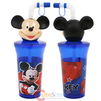 Disney Mickey Mouse Tumbler With 3D Face Topper Drink Bottle