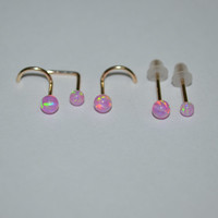 Gold Pink 3mm Opal Nose Stud - Ear Ring, 18 gauge cartilage,helix,tragus,ear small earring, 18g jewelry