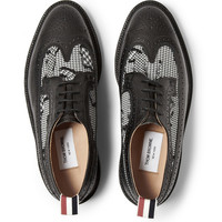 Thom Browne - Houndstooth Jacquard and Pebble-Grain Leather Brogues   MR PORTER