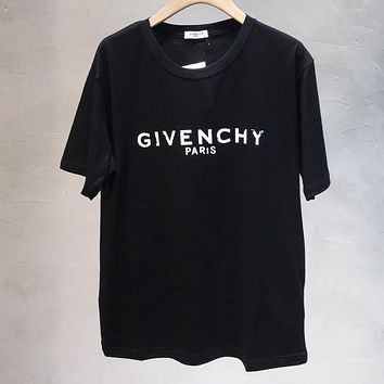 GIVENCHY Summer Fashion Women Men Classic Print Round Collar T-Shirt Blouse Top Grey&Blue