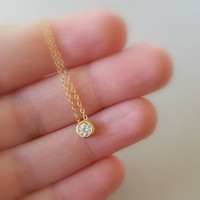 Dainty gold necklace / solitaire cz necklace / floating diamond necklace / cz diamond, dainty necklace