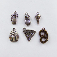 6 Piece Food Charm Collection ~ French fry, Pineapple, Ice cream cone, Cupcake, Pizza, Pretzel ~ SET2