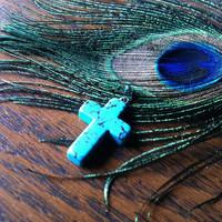 Turquoise cross necklace with black ball chain by KGillianJewels