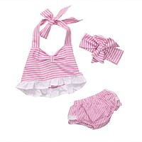 3PCS Set born Baby Girl Clothes Summer Sleeveless Pink Striped Romper +Bloomers Bottom Outfit Toddler Kids Clothing