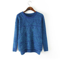 Women's Round Collar Long Sleeves Rhombus Pattern Sweater