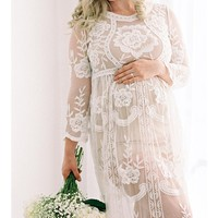 White Lace Maternity Dress Gown Photo Prop Clothing - CCO10