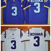 LSU Tigers College 3 Odell Beckham Jr. Jersey Purple Yellow White Color Odell Beckham Jr. Football Jerseys Cheap Fashion Stitched Quality