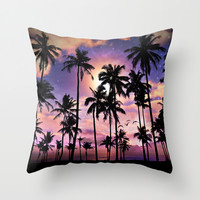 Smell the Sea Feel the Sky (Palm Tree Sunset) Throw Pillow by Soaring Anchor Designs