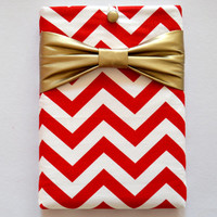 """Macbook Pro 15 Sleeve MAC Macbook 15"""" inch Laptop Computer Case Cover Red & White Chevron with Yellow Bow"""