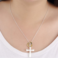 Women Silver Plated Jewelry Chains Necklace Dichroic Heart Cross Pendant Necklaces SM6