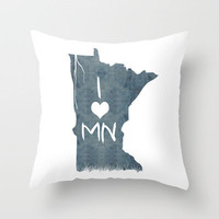 I LOVE MN Throw Pillow by Michelle | Society6