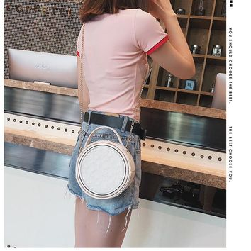 Fairy Lace Bag Female Simple Rhombic Chain Small Round Bag  Shoulder Messenger Bag