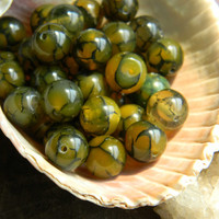 10mm Yellow Dragon Vein Agate Beads Smooth Round 10 Pieces