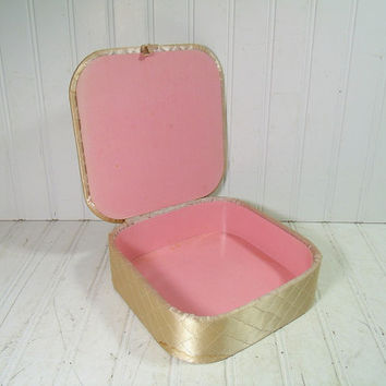 Retro Champagne Pink Satin Quilted Hankie Box - Vintage Vanity Luxury Square Organizer - Shabby Cottage Chic Display Case with Pink Interior