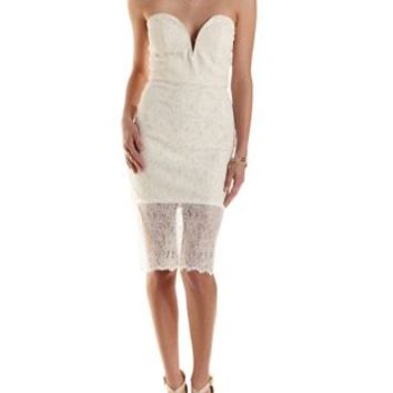 Ivory Strapless Bodycon Lace Midi Dress by Charlotte Russe