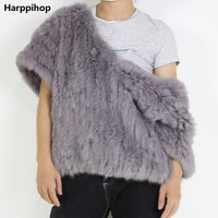 Real Knit Rabbit Fur Jacket Nature Fur Coat With V collar  Warm Outwear Fashion Winter Fur Waistcoat  Trend model  exhibition