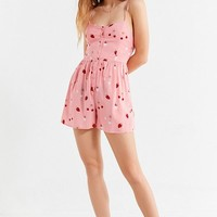 UO Poppy Sweetheart Button-Down Romper | Urban Outfitters