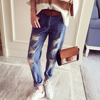 Womens Hole Denim Jeans Pants Summer Gift 72