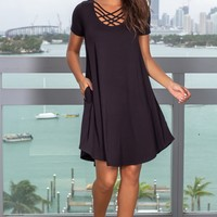 Black Short Dress with Strappy Detail