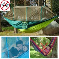 Anti Mosquitoes Enjoy Portable Parachute Nylon Fabric Travel Camping Hammock for Double Two Person