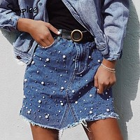 Pearls Jean Skirt