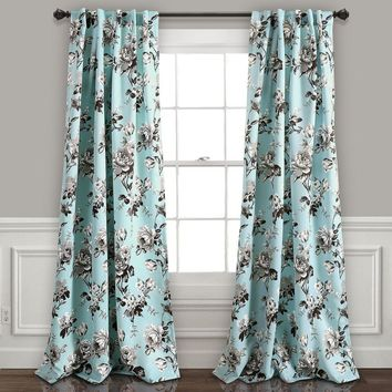 Audrey Floral Room Darkening Window Curtains