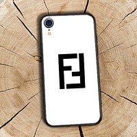 Fendi Fashion New Letter Print Women Men Phone Case Protective Cover White