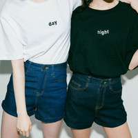 Day/Night Embroidered Pair of T-shirts