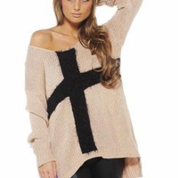 Light Pink Knit Long Sleeve Sweater with Contrast Cross