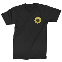 Embroidered Sunflower Patch (Pocket Print) Mens T-shirt