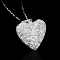 2016 New Silver Plated Jewelry Heart Photo Locket Necklace Pendant Valentine's Day Gift For Women Girl