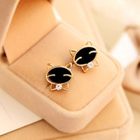 New Fashion Cute Black Cat Ear Studs Exquisite Rhinestone Earrings Womens Gifts (Color: Black) = 1706366660