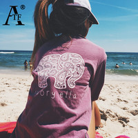 New 2016 Summer Ivory Ella T-shirt Women Tops Tee Print Animal Elephant T Shirt Loose Long Sleeve Harajuku Tops