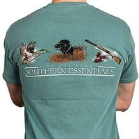 """Southern Essentials """"Duck Hunt"""" Short Sleeve Pocket Tee in Light Green by Live Oak"""