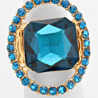 """""""Just a peek"""" Emerald Cutout Teal Blue Zircon Crystal Rhinestone Pave Stretch Cocktail Ring On Gold Tone"""