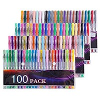 Tanmit 100 Coloring Gel Pens Set for Adults Coloring Books- Gel Colored Pen for Drawing, Writing & Unique Colors Including Glitter, Neon, Standard, Symhony, Milky & Metallic