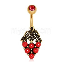 Gold Plated Red Strawberry Navel Ring
