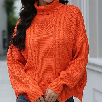 Explosive women's wave pattern high neck pullover warm knitted sweater